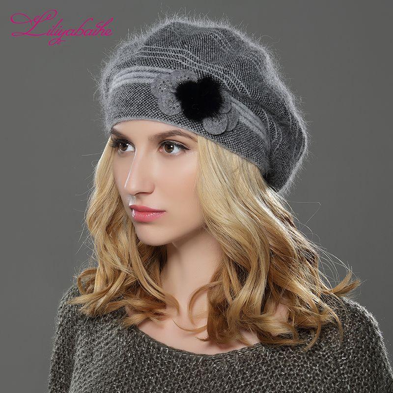 LILIYABAIHE nouveau Style femmes hiver chapeau tricoté laine angora béret classique Patchwork de vison fleur décoration chapeau Double chaud chapeau