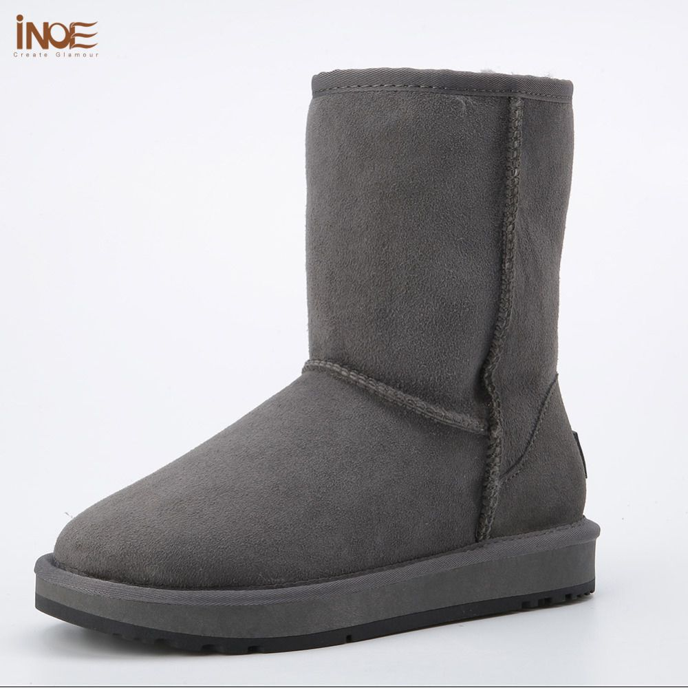Real sheepskin leather suede man winter snow boots for men sheep fur lined winter shoes high quality brown black grey non-slip