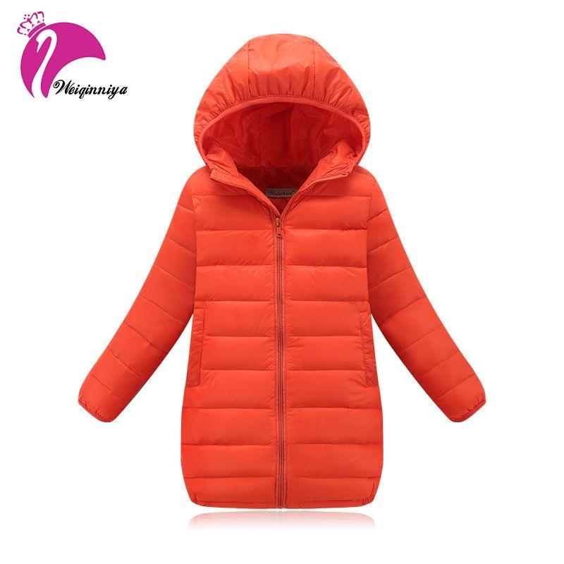 New Brand 2018 Fashion Children's Jackets Coats Solid Cotton-padded Girls Warm Winter Coat Down Jacket Children Jacket 4-13Y Hot