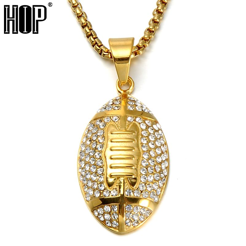 Hip Hop Full Rhinestone Iced Out Rugby Football Pendants Necklace for Men Sport Jewelry 24inch Gold Color Stainless Steel Chain
