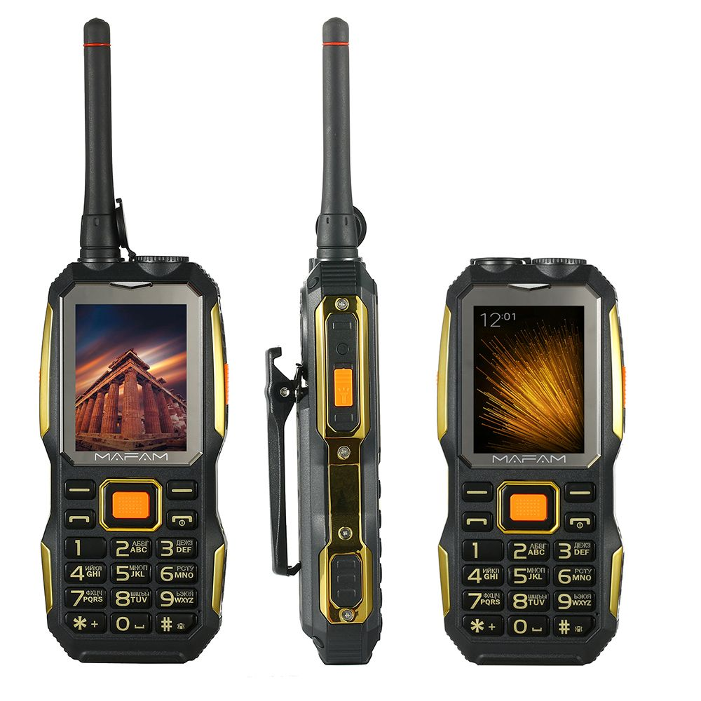 Shockproof Rugged outdoor UHF Walkie Talkie PTT free belt clip power bank Facebook big sound key senior mobile phone P156
