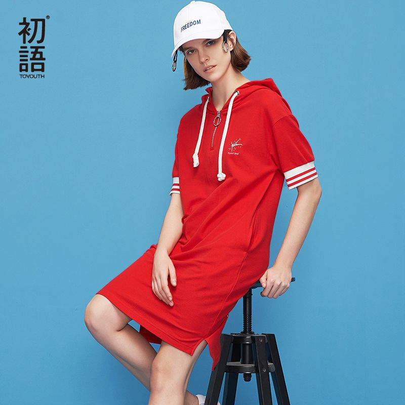 Toyouth Casual Women Hooded Summer Embroidery Dress Preppy Style Short Sleeve Striped T-shirt Dresses Straight Mini Vestidos