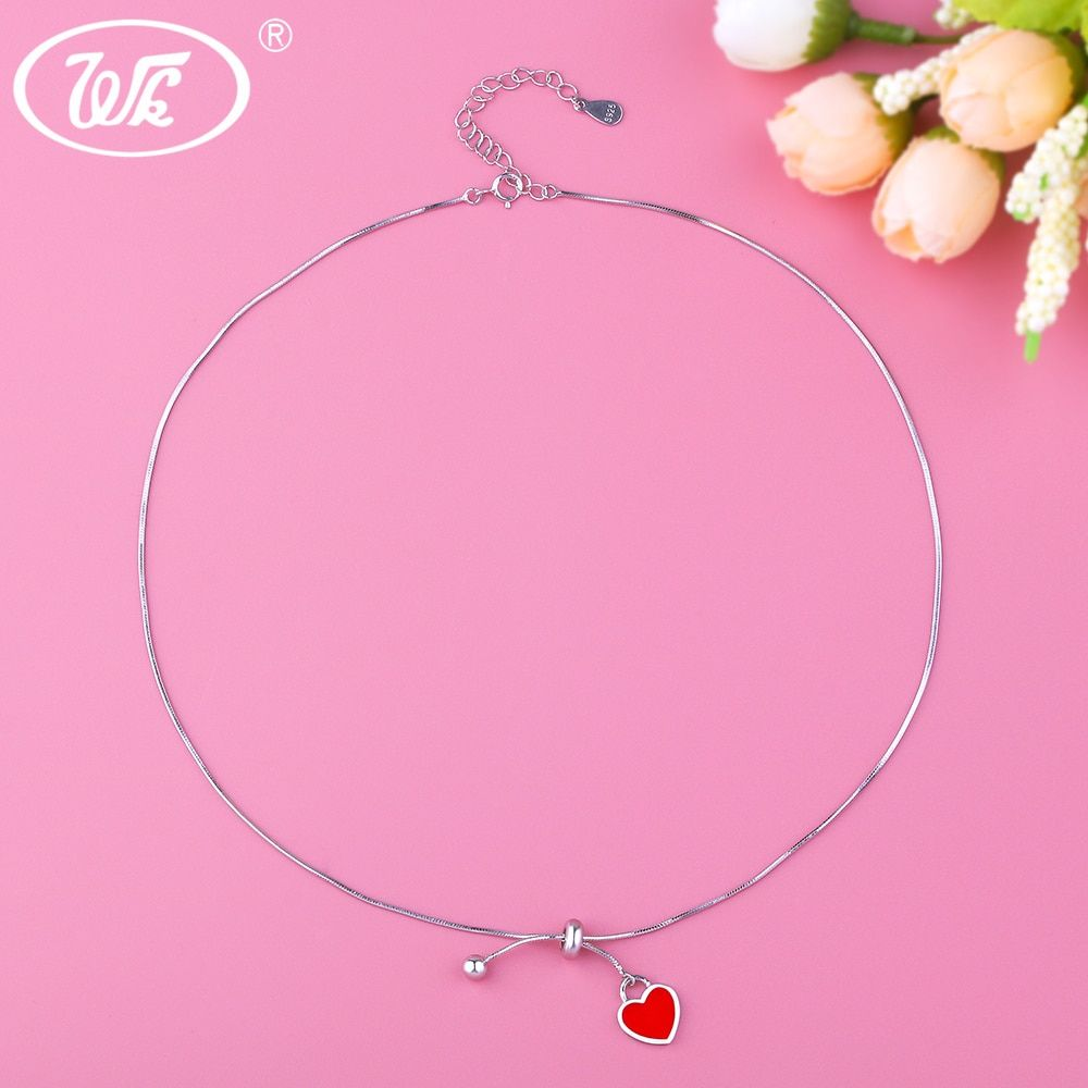 WK NEW Styles 925 Silver Choker Necklace Short Chain Heart Chokers Necklaces For Women Gift Trending Products 2018 Chocker NB091