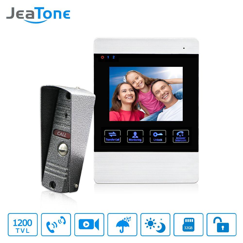 JeaTone 4 pouces HD Led système d'interphone de porte vidéo cloche de porte 1200TVL caméra de stockage vidéo automatique déverrouiller sonnette en métal