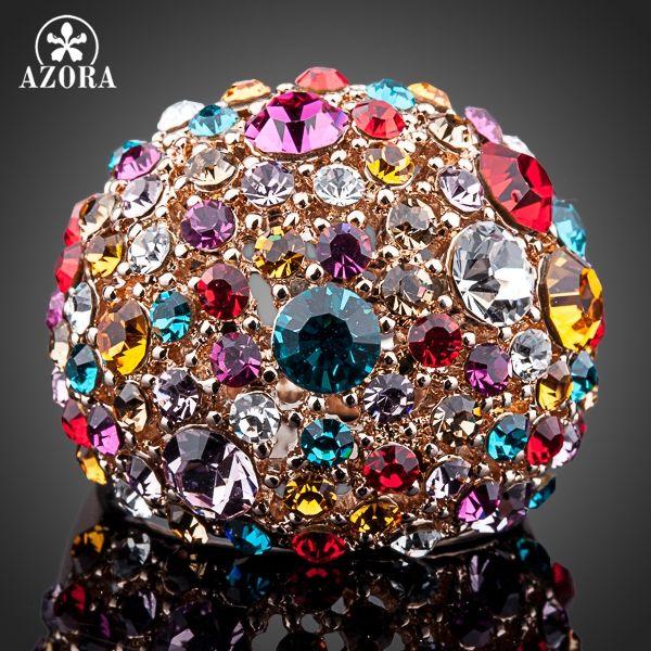 Bague en cristal autrichien Stellux multicolore couleur or Rose AZORA TR0102