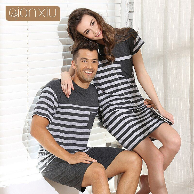 Qianxiu modales de los hombres pijamas set mujeres sleepshirts pijamas para hombres de verano parejas rayas ropa de dormir homewear