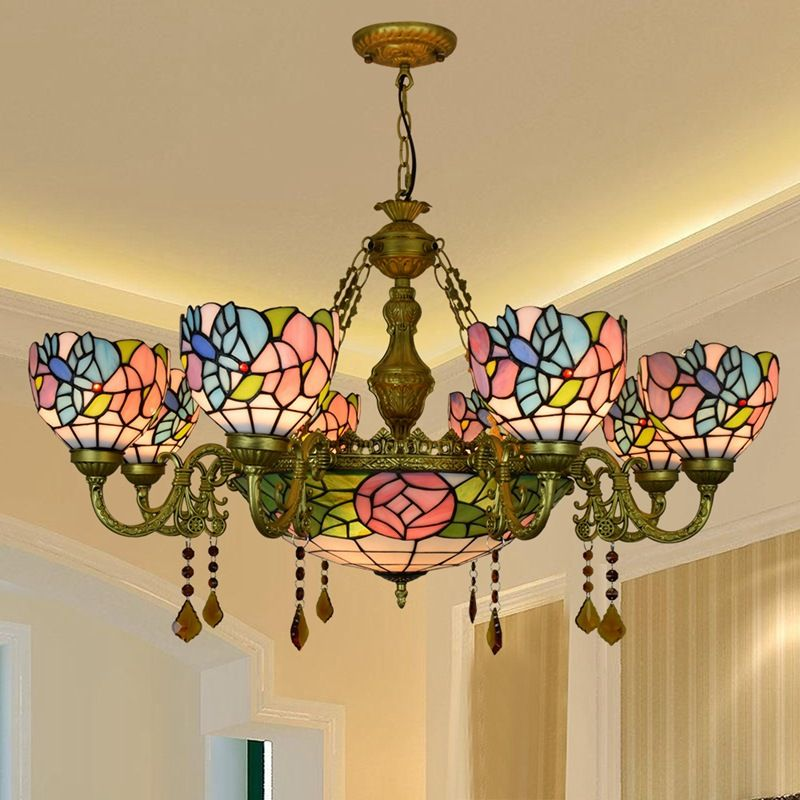vintage europe tiffany style chandelier stained glass bird flower colorful living room dining-room crystal bar hanging light