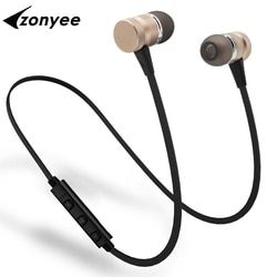 Zonyee BK11 Bluetooth Headset Metal Magnetic suction Sport Wireless Headphones with Mic Stereo bluetooth earphones for phone