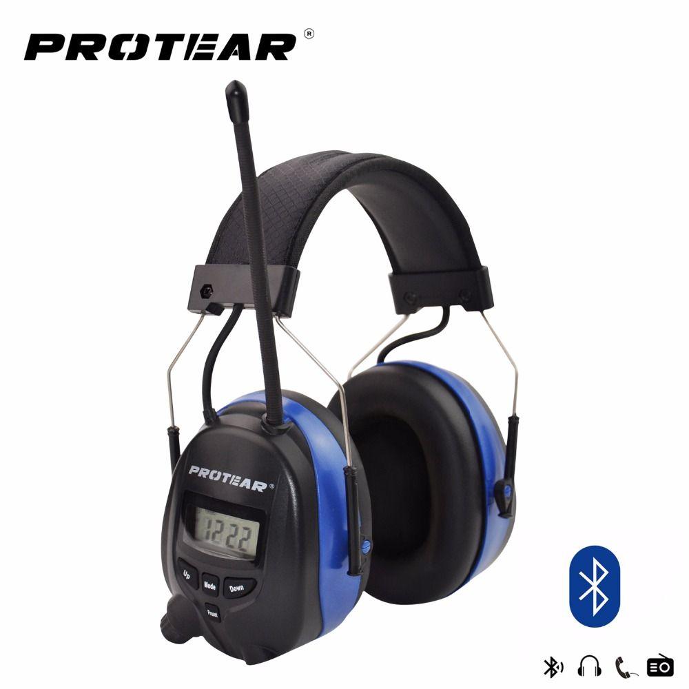 Protear NRR 25dB Hearing Protector Blue tooth AM/FM Radio Earmuffs Electronic Ear Protection Bluetooth Headphone Ear Defender