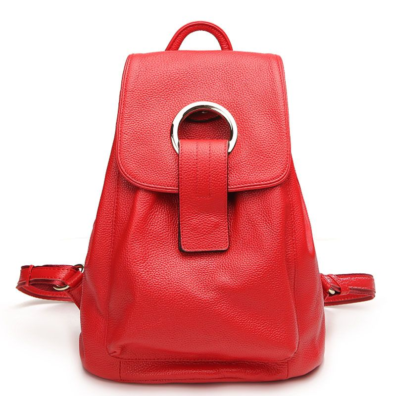 Top qualityFashion Designer Cow Genuine Leather Women Backpack Drawstring School Bags Travel BackPack