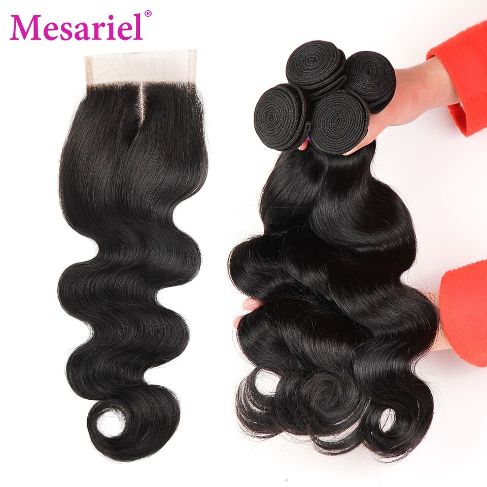 Mesariel Brazilian Body Wave With Closure 3 Bundles Body Wave Human Hair Weave With Lace Closure Non-remy Hair Middle Part