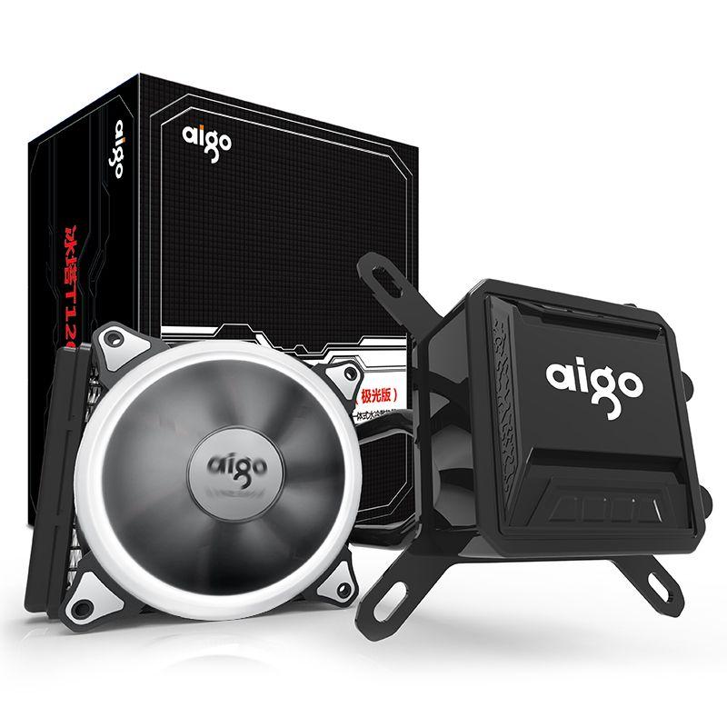 Aigo Liquid CPU Cooler All-In-One Water Cooling 120mm PWM Fan LED Light desktop computer case radiator LGA 775/115x/AM2/AM3/AM4