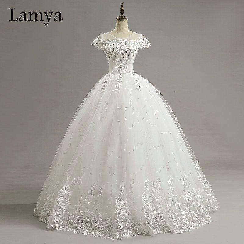 Lamya Cheap Customized Short Lace Sleeve Vintage Wedding Dress Princess Plus Size Bride Gowns Dresses Fashion vestido de noiva