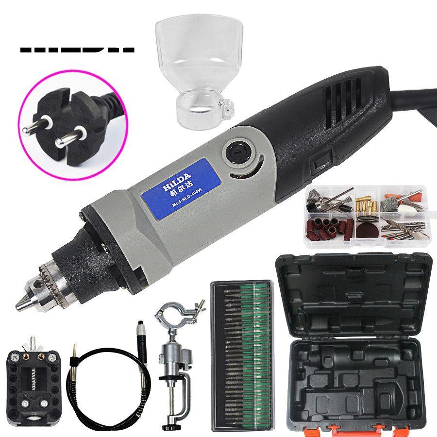 Outils rotatifs électriques à vitesse Variable de style Dremel 400 W Mini perceuse Mini rectifieuse avec 84 pièces ensemble en métal
