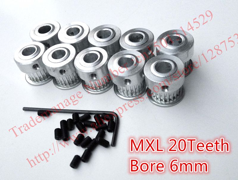 Hot Sale 10pcs 20teeth MXL Timing Pulley Aluminum Bore 6mm fit belt width 6.4mm for Set DIY Ultimaker Parts Free Shipping