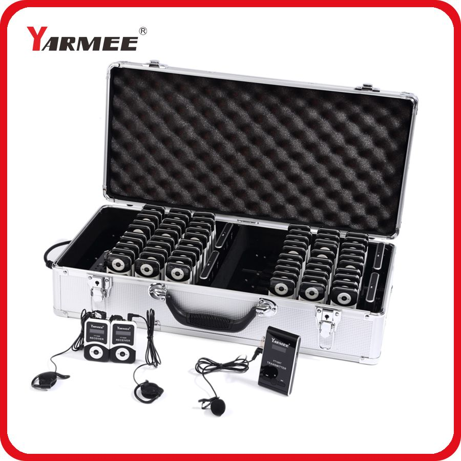 YARMEE Full Set Portable Wireless Tour Guide system Including 2 Transmitters+60 Receivers+All Accessories + Charger Case