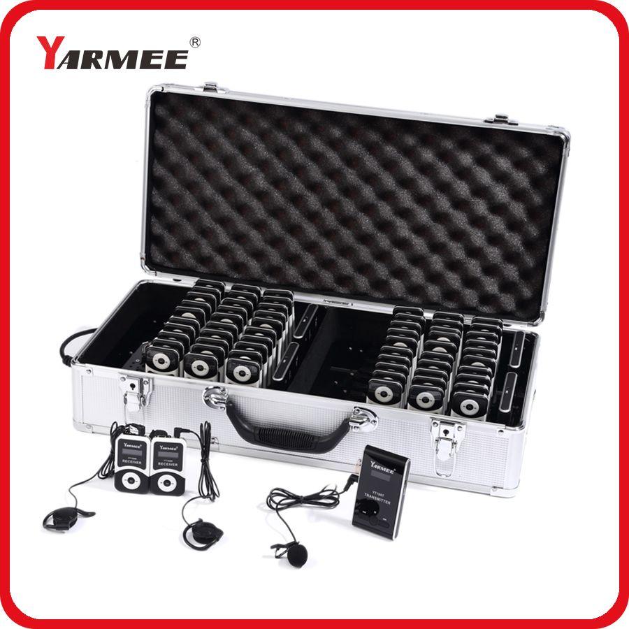 YARMEE Volle Set Tragbare Wireless Tour Guide system Mit 2 Sender + 60 Empfänger + Alle Zubehör + Ladegerät Fall