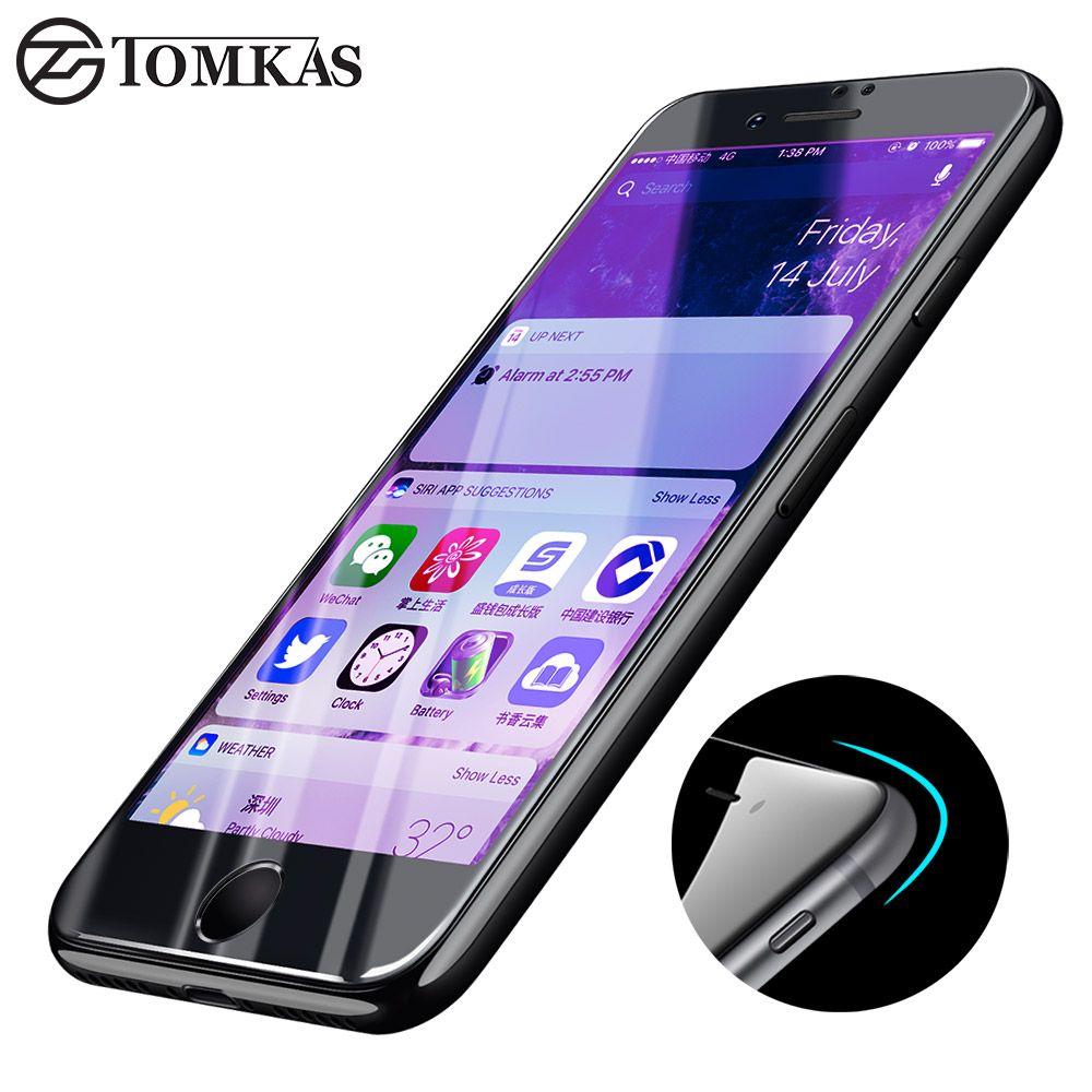 TOMKAS 3D En Verre Trempé Pour iPhone 6 6 s Plus Anti UV Complet couverture Safe Case Pour iPhone 6 Plus Protecteur D'écran En Verre Anti Bleu