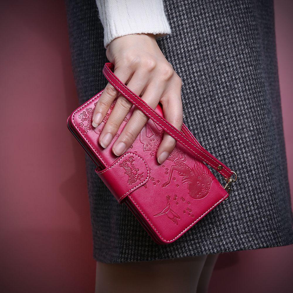 KISSCASE miroir support de poche portefeuille étui pour iPhone 5 5 s SE 6 s Plus étui à rabat portefeuille pour iPhone 7 8 Plus couverture en cuir Capinhas