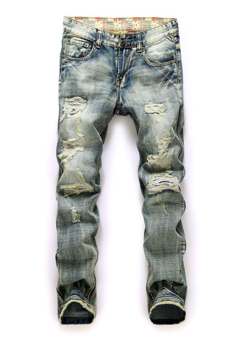Los nuevos hombres Con Estilo Slim Fit Straight Washed Denim Pantalones Lápiz Pantalones Casual Pantalones Vaqueros Para Hombre de Moda Pantalones Largos Hoyos