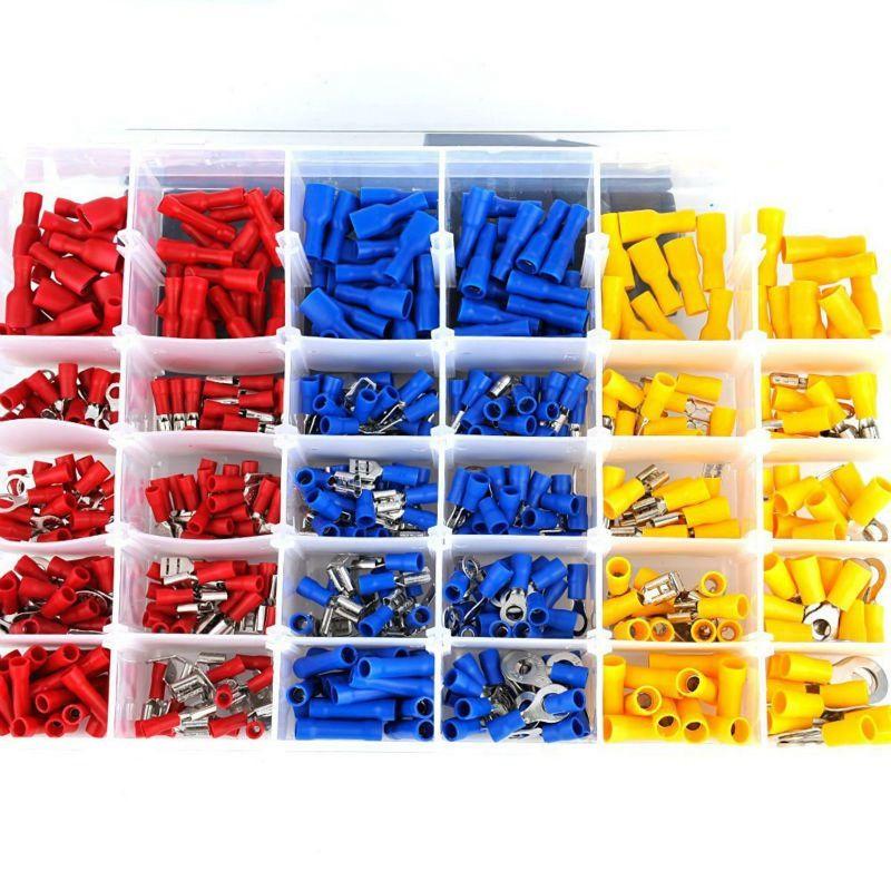 Mayitr 480 teile/satz Bunte Terminals Stecker Spade Set Verschiedene Isolierten Elektrischen Draht Crimp-anschlussklemme Kit