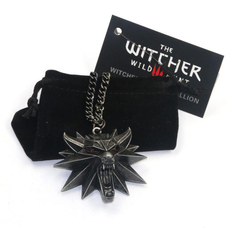 Neue Wizard the witcher 3 wilde jagd medaillon anhänger halskette hexer 3 halskette für witcher 3 Abbildung Spiel mit wolf kopf charme
