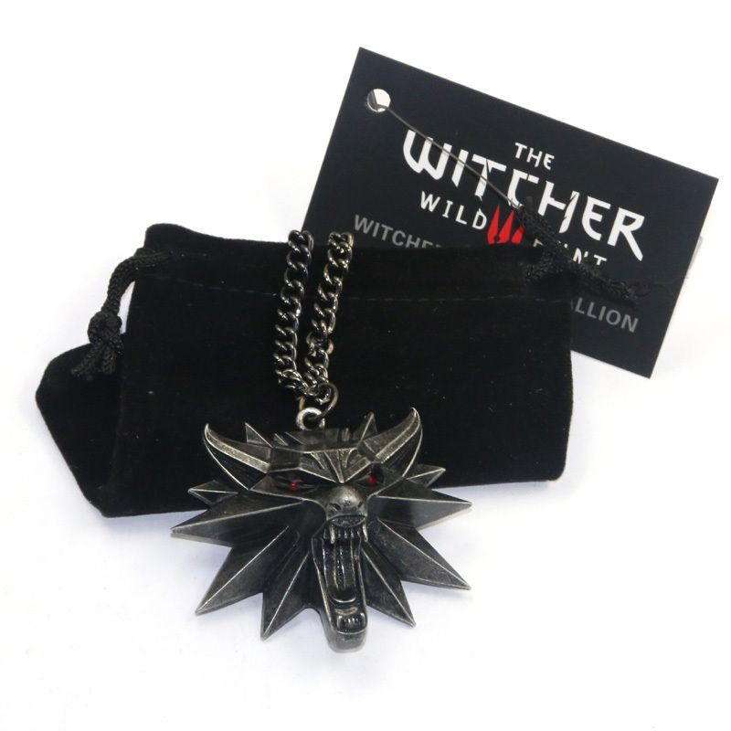 Nouvel Assistant the witcher 3 sauvage chasse médaillon pendentif collier witcher 3 collier pour witcher 3 Figure Jeu avec loup tête charmes