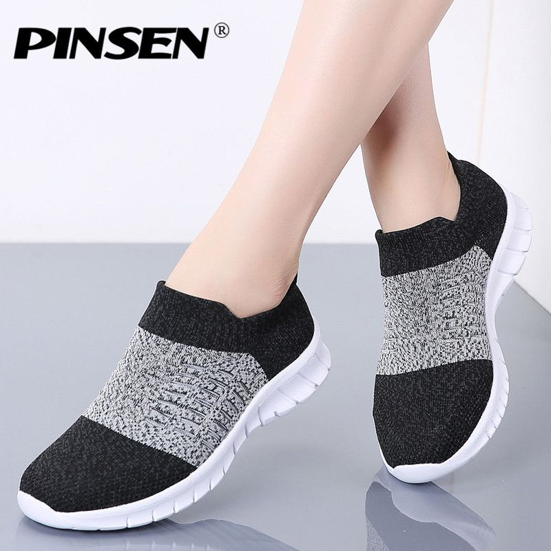 PINSEN Autumn Women shoes Breathable Casual Flats Shoes Woman Comfortable Slip-on Basket Femme Sneakers Women zapatillas mujer