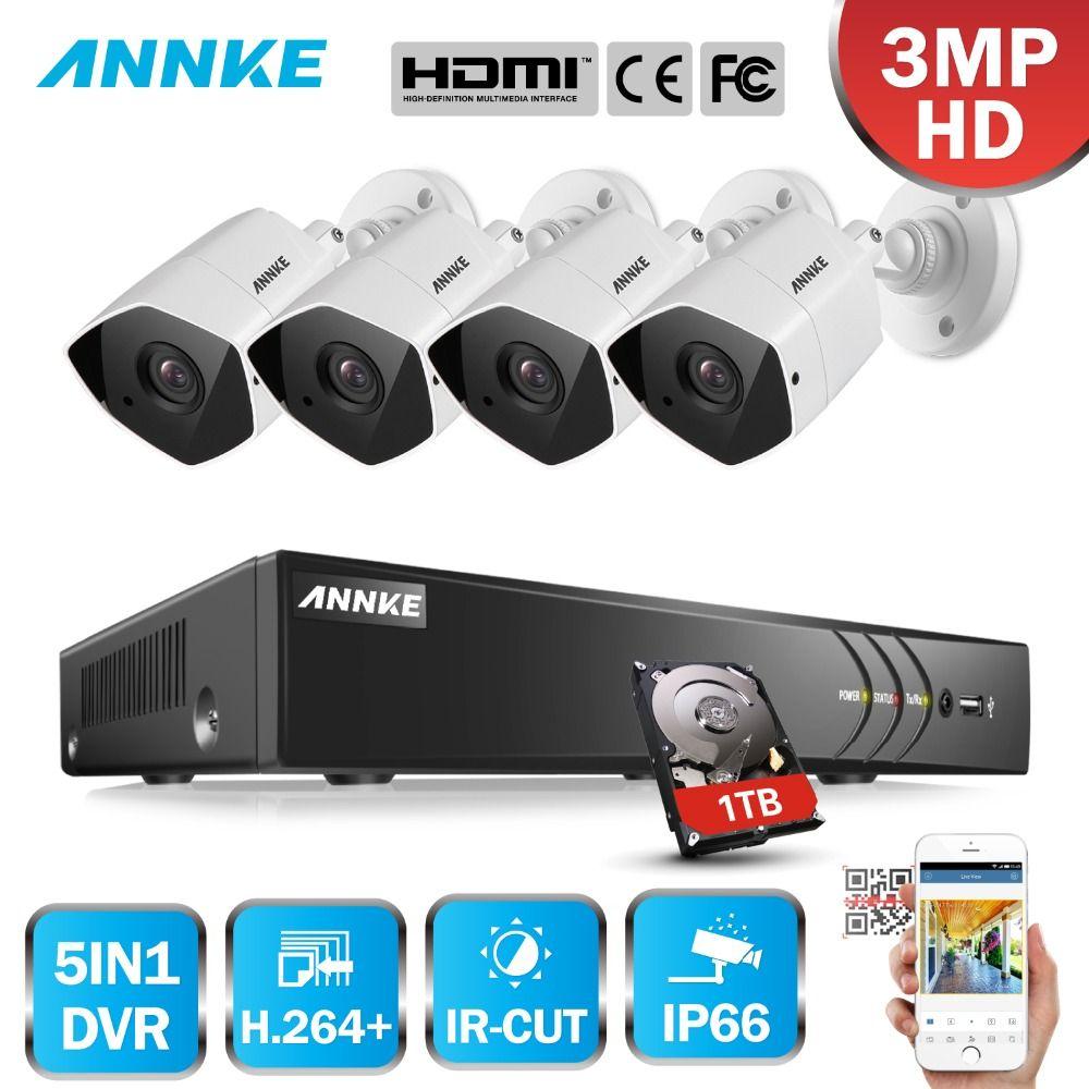 ANNKE FHD 8CH 3MP 5in1 Sicherheit DVR System CCTV Kit 4 stücke Wetterfeste Outdoor-überwachung Kugel Kamera Surveillance System Kit