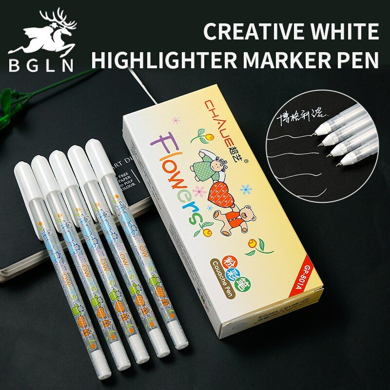 Bgln 0.7mm Mignon Blanc Surligneur Stylo Liner Croquis Marqueurs Scribble Pen Manga Conception Fournitures Scolaires Étudiants
