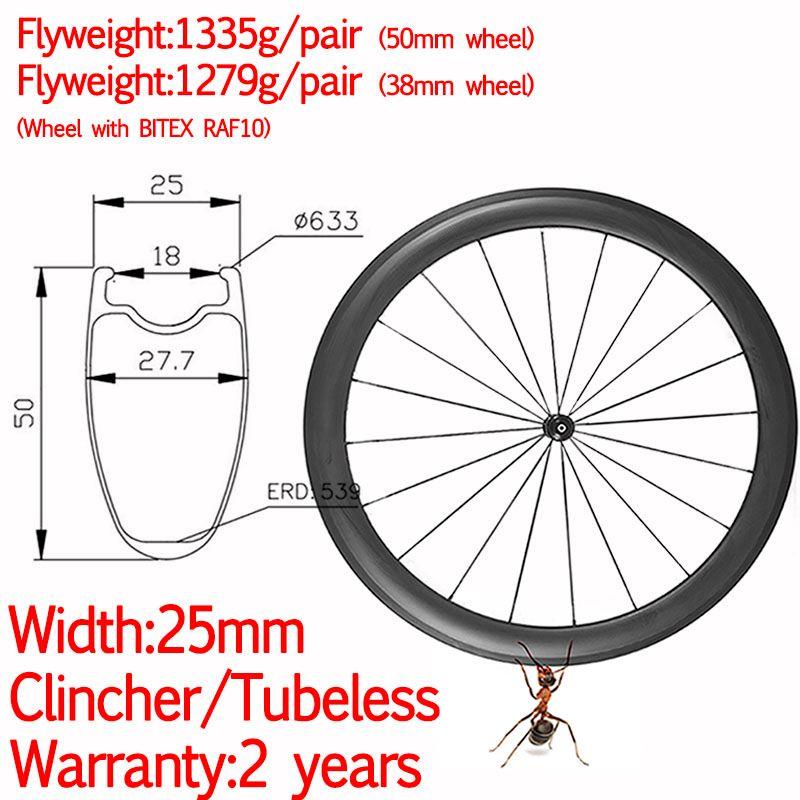 Breite 25mm super licht carbon räder rennrad klammer tubeless keramik hub hohe TG säule 1420 38mm/ 50mm straße fahrrad räder