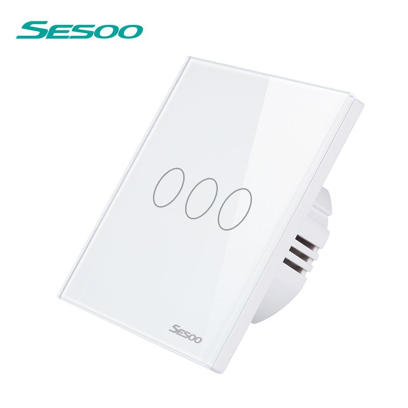 SESOO Wireless Remote Control Switch 3 Gang 1 Way 170-240V Crystal Glass Panel Touch Light Switch Without Remote Controller