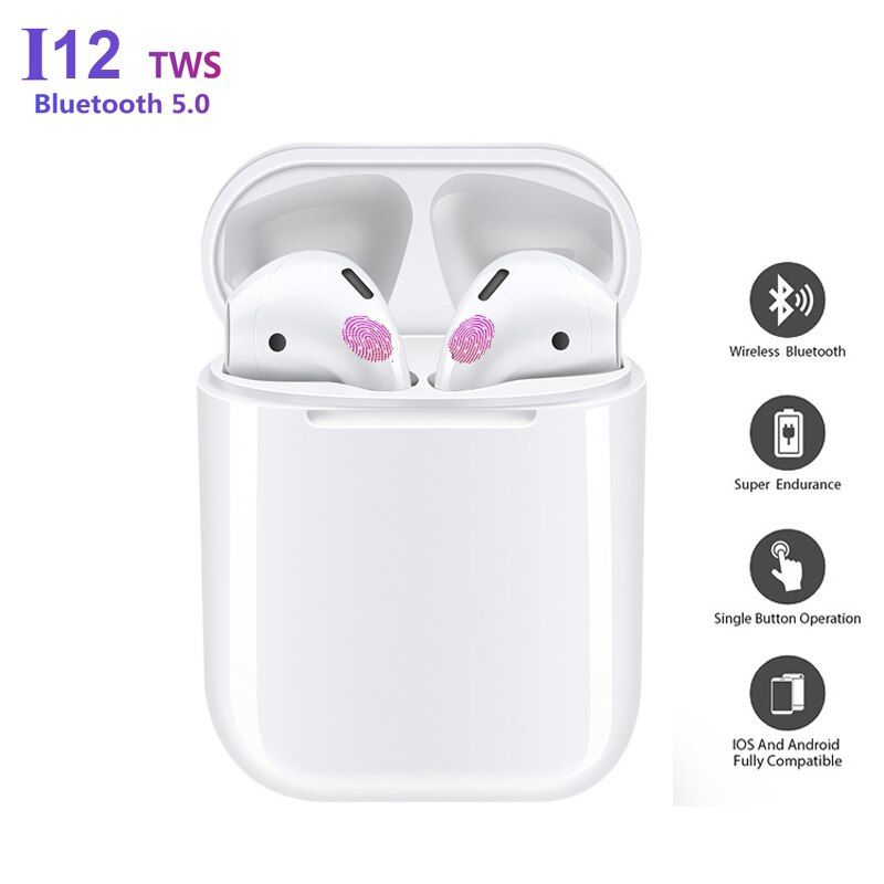 i12 TWS Bluetooth Earphone Sport Wireless Earphones Bluetooth 5.0 Touch Control 1:1 Headset Bass Earbuds pk i10 tws i11 tws i7s