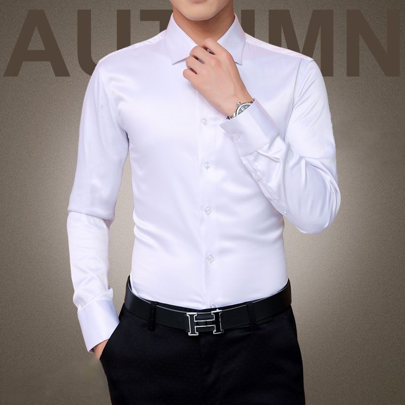 Grande taille 5XL 2018 nouveaux hommes de luxe chemises de mariage robe de soirée à manches longues chemise de smoking en soie hommes chemise en coton mercerisé