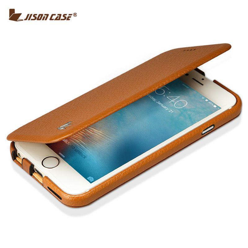 Jisoncase Flip Cover pour iPhone 6/6 s étui en cuir véritable magnétique mince Design pour iPhone 6/6 S 4.7 pouces béquille Smart Cover