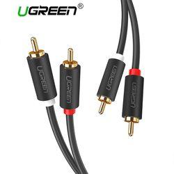 Ugreen 2RCA untuk 2 RCA Male Ke Male Kabel Audio Berlapis Emas RCA Audio Cable 2 M 3 M 5 M untuk Home Theater DVD TV Amplifier Cd Kotak Suara