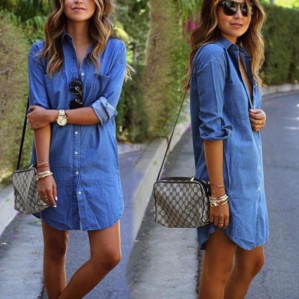 <font><b>Women</b></font> Casual Denim Dresses Pockets Elegant Cowboy Fashion <font><b>Women</b></font> Feminino Lady Slim Shirt Dress Jeans