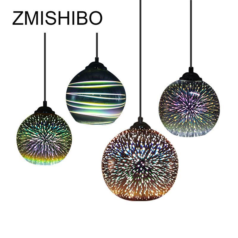 ZMISHIBO 3D Fireworks Chrome Lampshade LED Glass Pendant Lights E27 Hanging Lamp For Living Room Decoration Lighting Fixtures