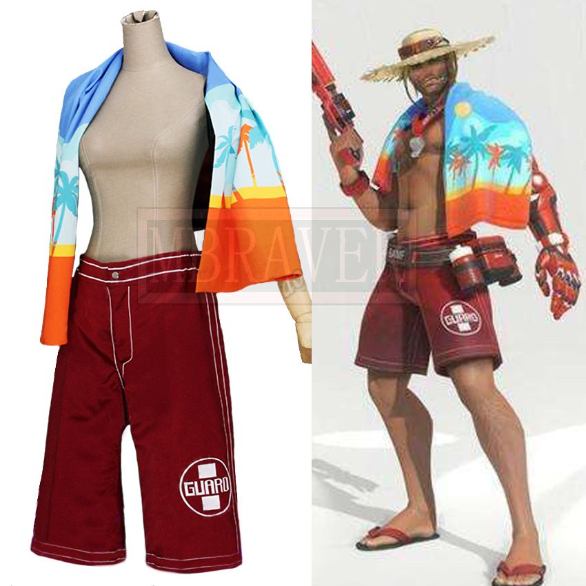 Game OW Jesse McCree Beach Ranger Swimsuit Summer Games Skin Cosplay Costume Halloween Uniform Outfit Custom Made Any Size