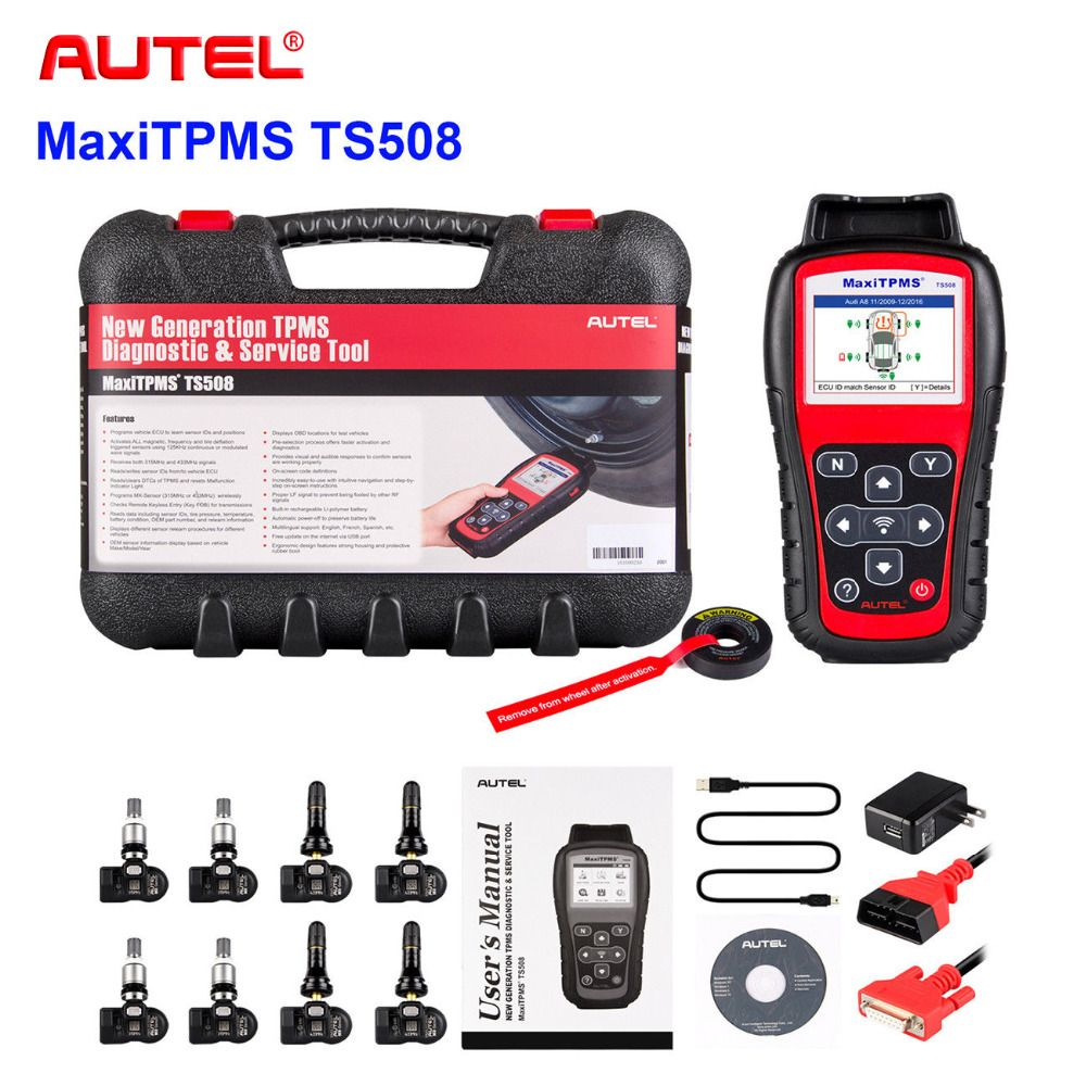 2018 Best TPMS Replacement tool Autel MaxiTPMS TS508 K tire pressure monitoring system reset with 8 programmable TPMS sensor