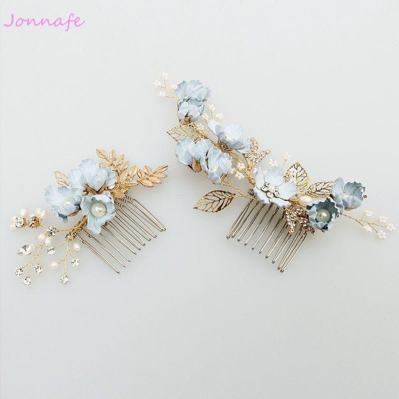 Jonnafe fleur bleue peigne à cheveux épingles de mariée perles bijoux de mariage cheveux vigne accessoires femmes casque