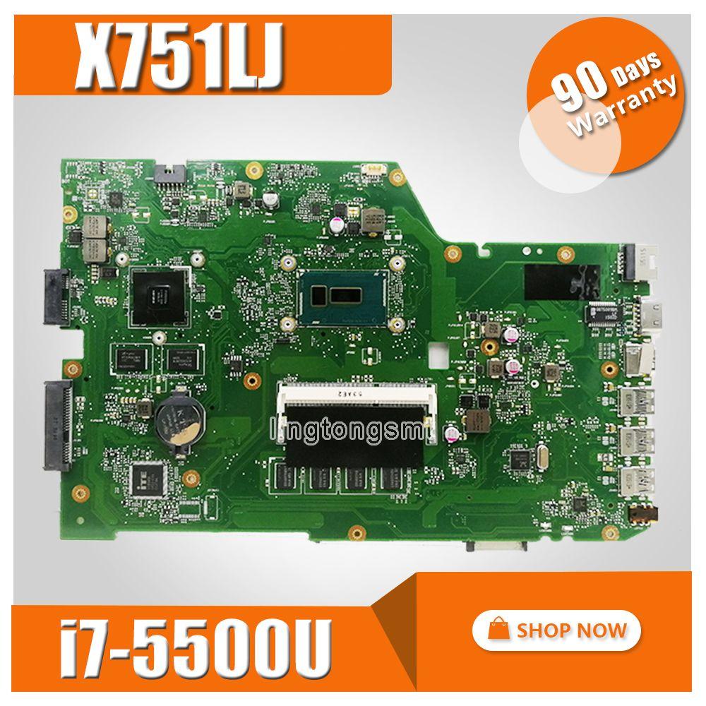 X751LJ GT920M/2GB mainboard For ASUS X751L R752L K751L X751LN X751LD X751LJ X751LB DDR3 Laptop motherboard 4GB RAM I7-5500U