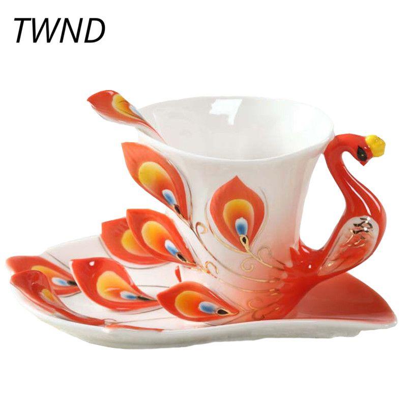 Émail paon tasses à café Procelain tasses et tasses avec soucoupe cuillère créative maison bureau marque Drinkware maison décorative