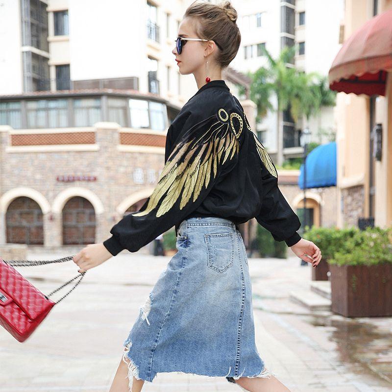 Women Basic Jackets 2017 Fashion Gold Wings Embroidery Black Bomber jacket Runway Streetwear Baseball Coat Chaqueta Mujer
