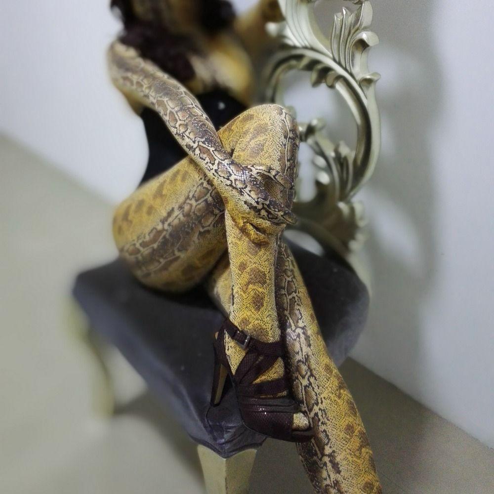 Customized cool yellow dastarcus snake tights skin suit zentai jumpsuit fetish costume