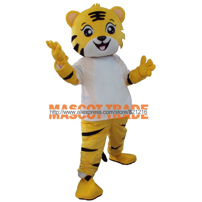 Yellow tiger Mascot Costume Animal Cartoon fancy dress Adult Size for Carival Halloween party event