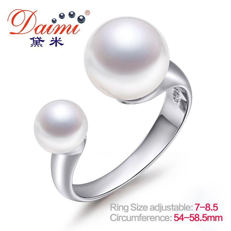 DAIMI marque Design véritable perle anneau ouvert bague en argent 6-7mm & 9-10mm Double perle anneau ajuster la taille 7 à 8.5