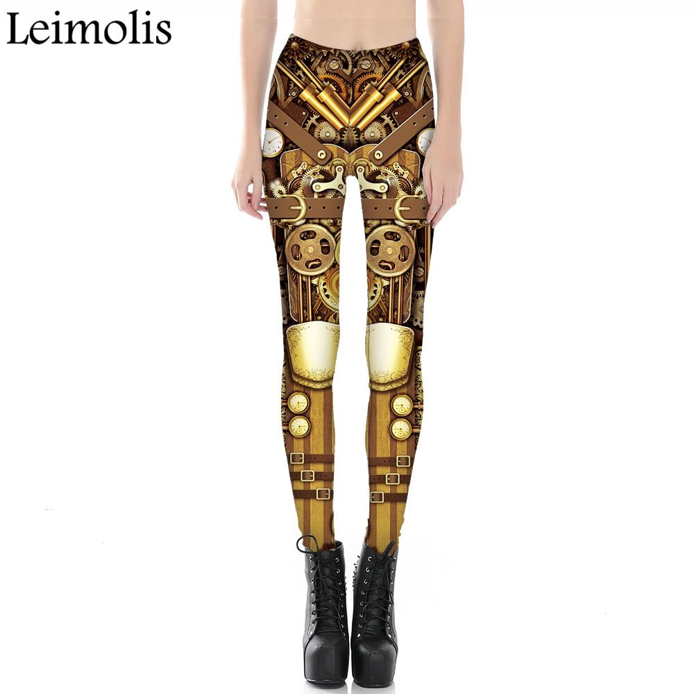 Leimolis 3D imprimé remise en forme push up workout leggings femmes gothique steampunk vitesse armure plus la taille Taille Haute punk rock pantalon