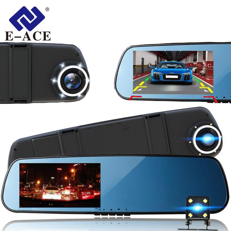 E-ACE Car Dvr Camera Mirror Full HD 1080P With Dual Lens Video Recorder Dvrs Rearview Cameras 10 Led Light Night Vision Dash Cam