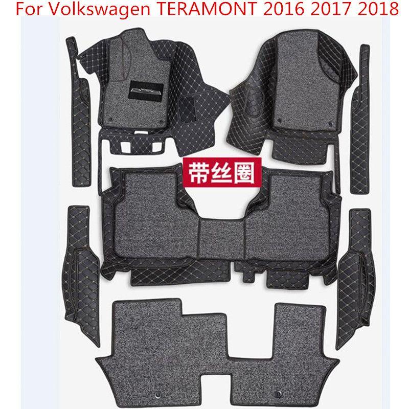 3D Auto Matten Luxus-Surround Leder Fußmatten Für Volkswagen TERAMONT 2016 2017 2018 Wasserdicht, anti-schmutzig, schutz
